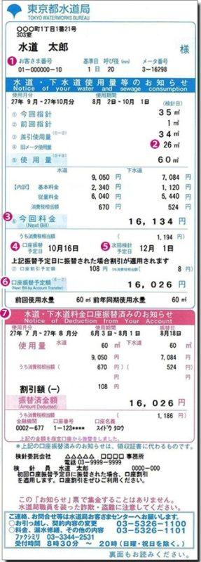 facture eau tokyo, se loger a tokyo, expatriation a tokyo
