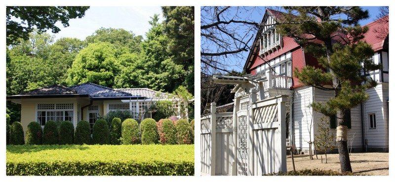 Des maisons résidentielles de style plus européens dans la partie Ouest du Parc Edo Yokyo en plein air
