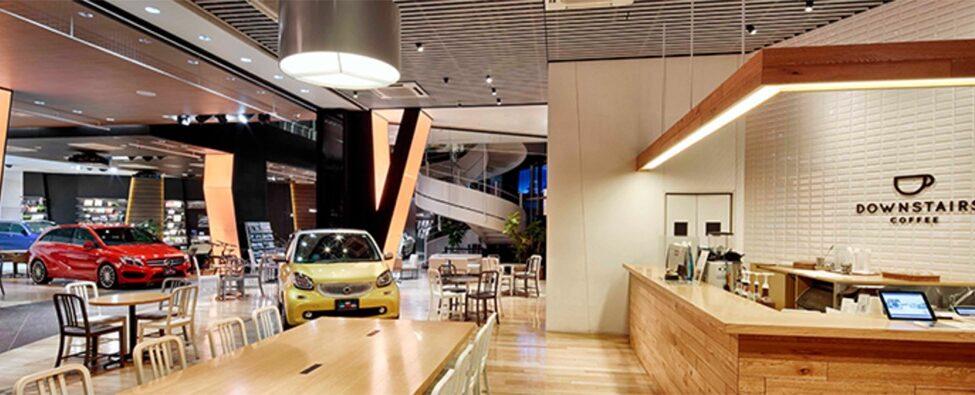 Dans le café Mercedes, Midtown, Visiter Tokyo