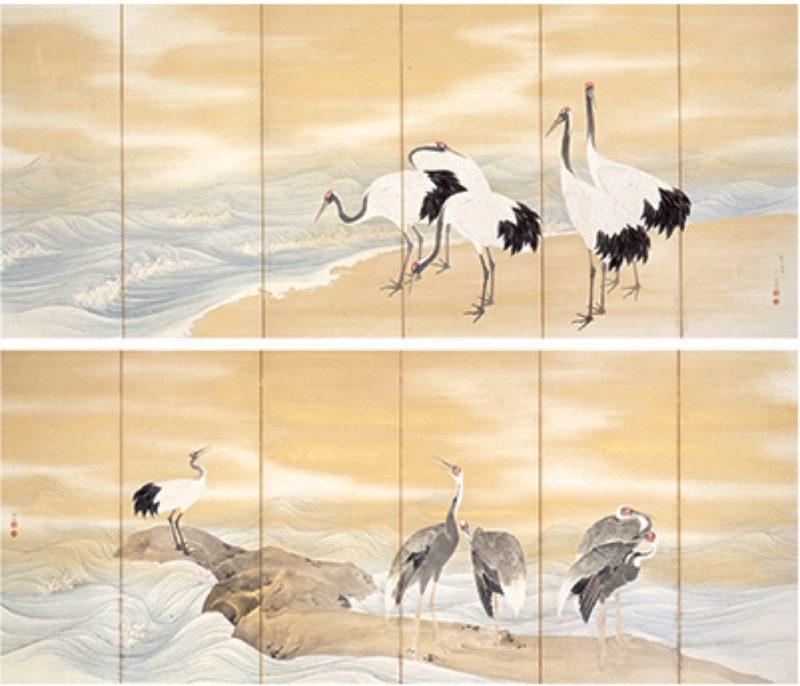 Exposition Mitsui, peinture de pins dous la neige, de fleurs et d'oiseaux, Visiter Tokyo