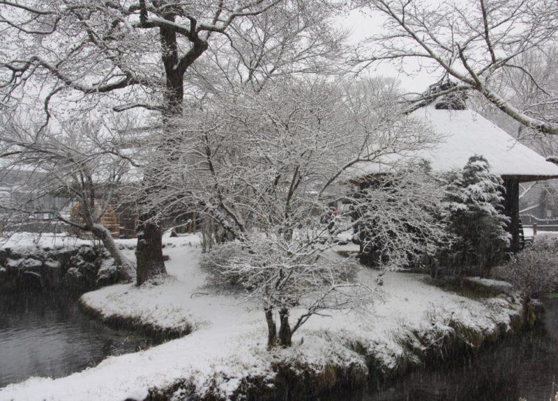 Oshino Hakkai un jour de neige, au pied du Mont Fuji, Visiter Tokyo et le Japon