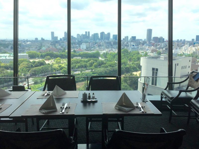 La vue depuis le restaurant View and Dining the Sky à l'hôtel New Otani, visiter le Japon, visiter Tokyo