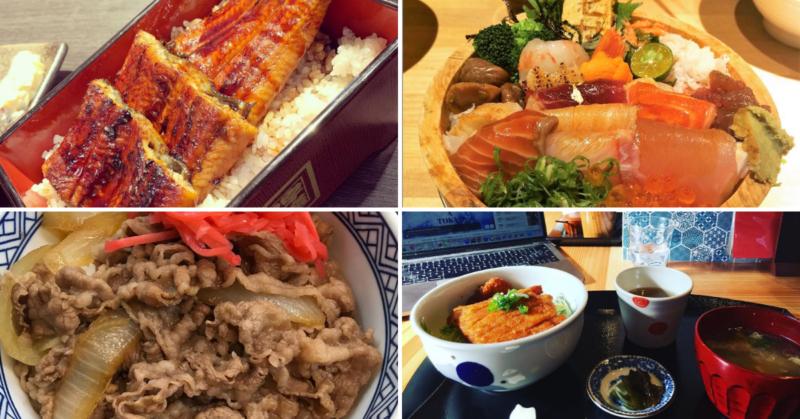 donburi, unagidon, gyudon, kaisendon, katsudon, cuisine japonaise, plats typiques japonais, tempura, soba, tofu, sashimi, vivre a tokyo, restaurant à tokyo, français à tokyo