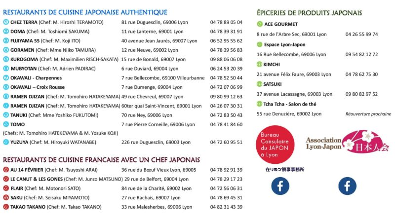 Liste des restaurants japonais à Lyon